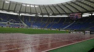Lazio, diluvio all'Olimpico prima del match con il Sassuolo