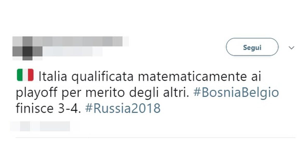 Tanti i commenti ironici su Twitter da parte dei tifosi azzurri: «Quattro volte campioni del mondo e dobbiamo ringraziare Mertens»
