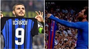 Inter, Icardi come Messi: mostra la maglia dopo la tripletta