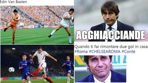 """""""Edin Van Basten"""" e Conte """"agghiacciande"""": il web si scatena su Chelsea-Roma"""