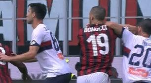Bonucci, espulsione per una gomitata a Rosi