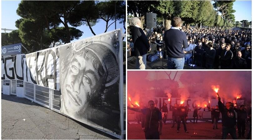 Dieci anni senza Gabbo: commosso sit-in dei tifosi della Lazio e di tutta Italia