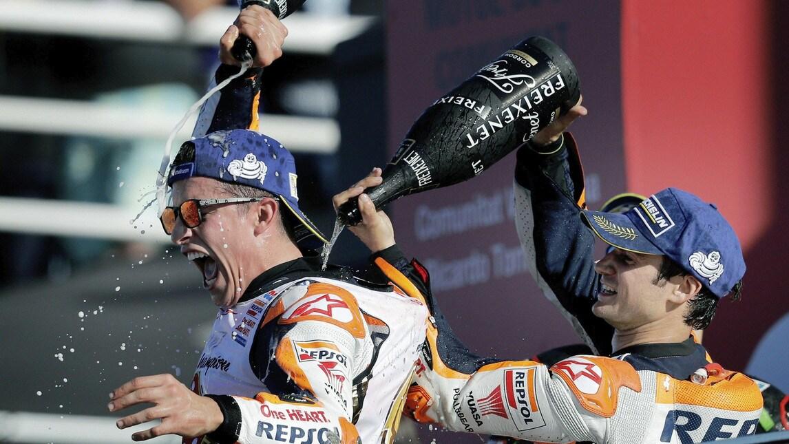 Lo spagnolo vince nella categoria regina per la quarta volta in carriera. Sul podio finale anche Dovizioso e Vinales