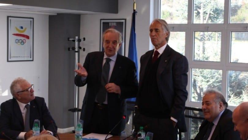 Volley: il presidente del Coni Giovanni Malagò in visita alla Fipav