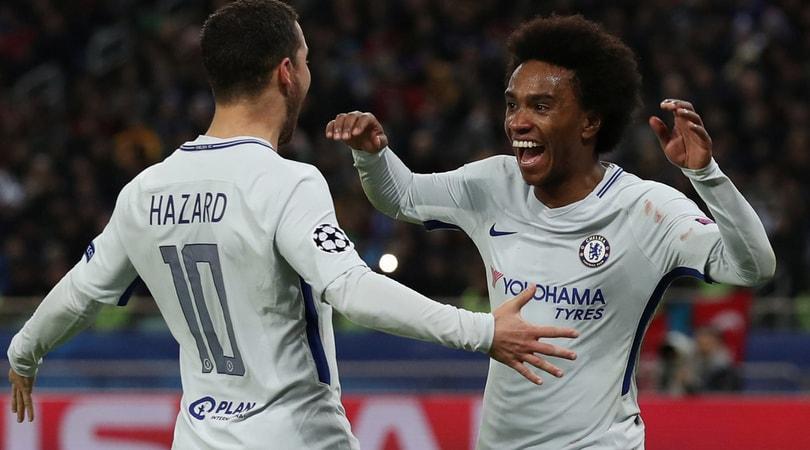 Champions League, Willian e Hazard calano il poker Chelsea: Conte vola agli ottavi