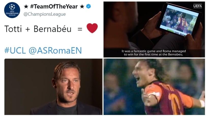 La Uefa celebra Totti e il suo gol al Bernabeu:«Non lo scorderò mai»