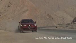 Alfa Romeo Stelvio Quadrifoglio in azione tra le dune