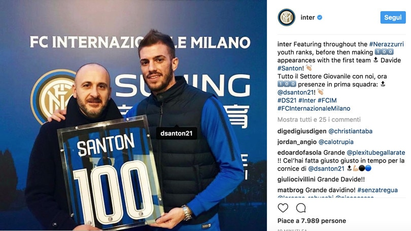 L'Inter premia Santon per le 100 presenze
