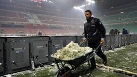 Milan-Bologna, San Siro tra ghiaccio e neve