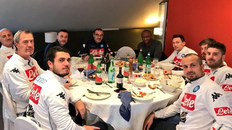 Napoli, c'è Vieira a Castelvolturno: pranzo con Sarri e la squadra