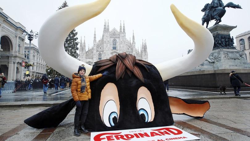 Il toro Ferdinand spunta a Piazza Duomo a Milano