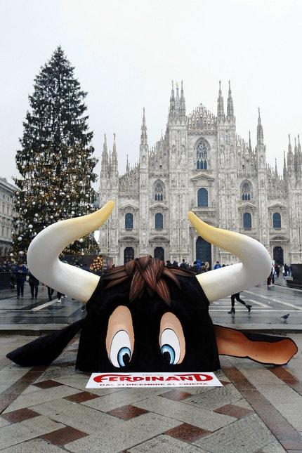 Un'enorme scultura rappresentante la testa del toro Ferdinand, film distribuito da 20th Century Fox, dal 21 dicembre al cinema e in anteprima il 16 e 17 dicembre, si è materializzata questa mattina in Piazza Duomo a Milano di fronte agli sguardi meravigliati dei passanti sotto una coltre di neve