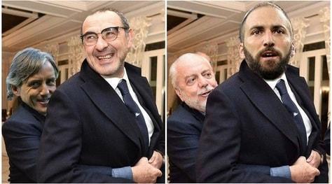 L'abbraccio di De Laurentiis a Sarri diventa virale sui social