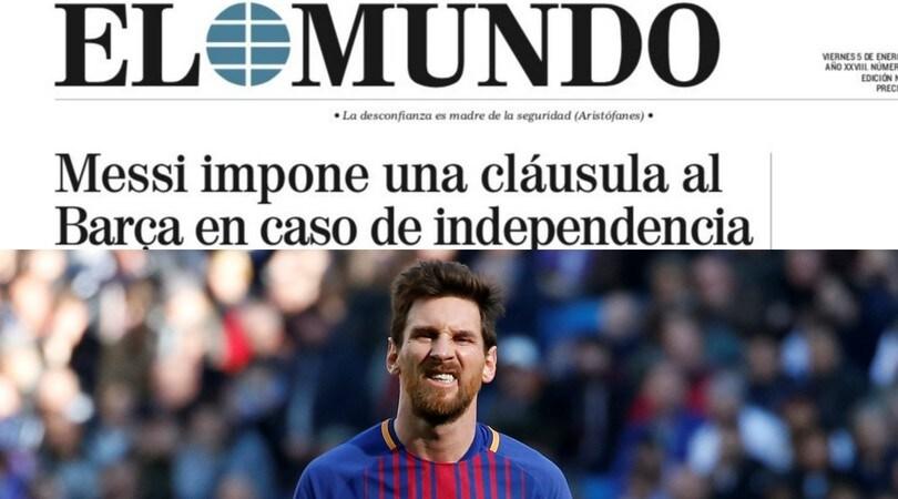 Dalla Spagna: «Messi, clausola in caso di indipendenza della Catalogna»