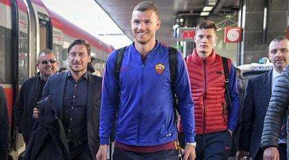 La Roma parte in treno per Milano: Totti scherza con Dzeko