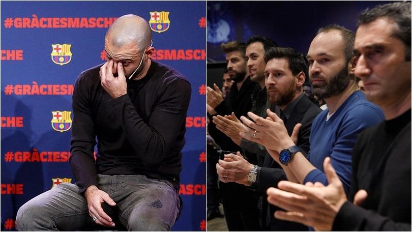 Mascherano dice addio: tutto il Barcellona in conferenza stampa