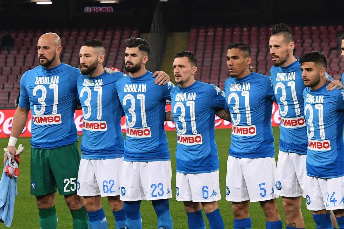 Napoli-Lazio, azzurri in campo con la maglia di Ghoulam: «Siete straordinari»