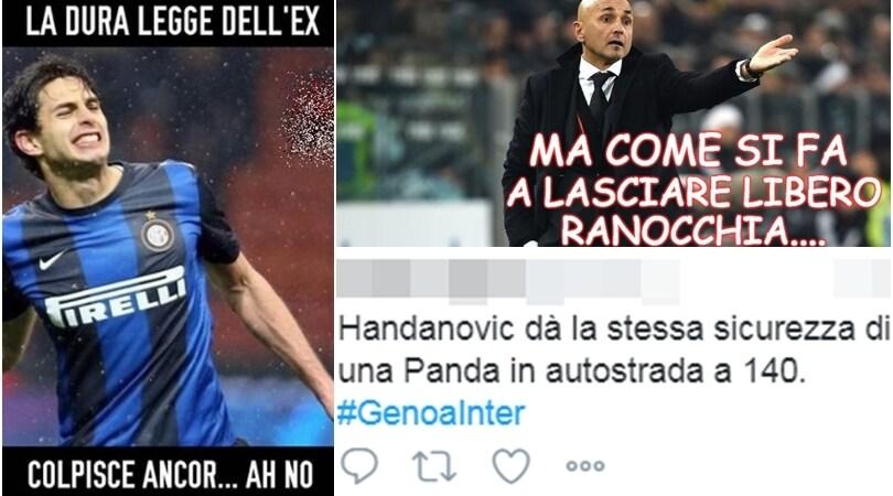 Genoa-Inter 2-0: l'autorete di Ranocchia scatena l'ironia del web