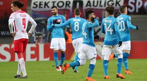 Europa League, Lipsia-Napoli 0-2: Zielinski-Insigne non bastano
