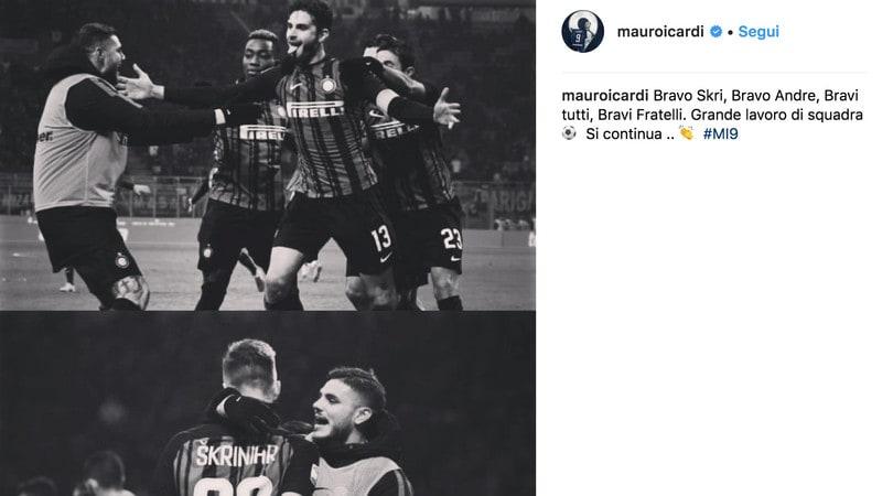 Icardi, è gioia social dopo il 2-0 al Benevento