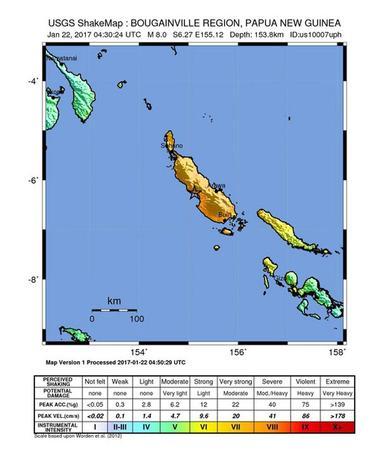Papua Nuova Guine, sisma magnitudo 7.5