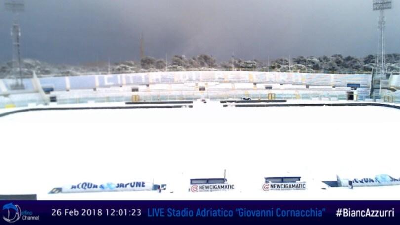 Serie B Pescara-Carpi: è ufficiale, gara rinviata per la neve
