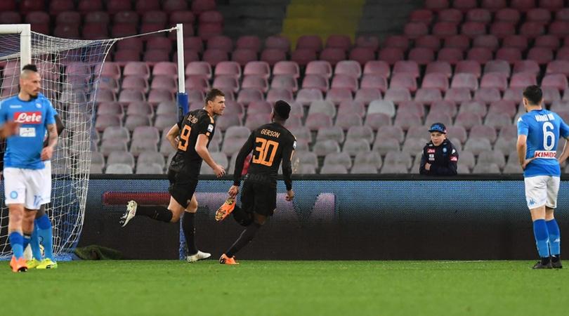 Napoli-Roma 2-4: doppietta di Dzeko, che colpo al San Paolo