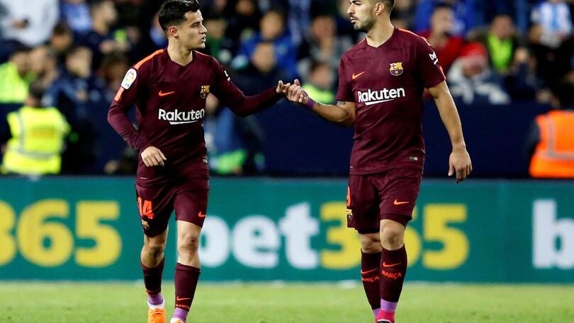 Suarez e Coutinho e il Barcellona vola: 2-0 al Malaga
