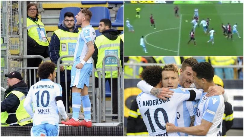 La sequenza del tacco-capolavoro con cui Immobile ha salvato la Lazio a Cagliari