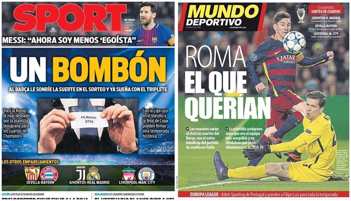 Barcellona-Roma, quando i giornali spagnoli esultavano
