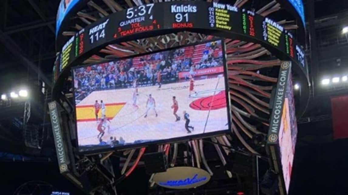 La nazionale balcanica sugli spalti della America Airlines Arena ad assistere all'incontro di NBA tra Heat e Knicks