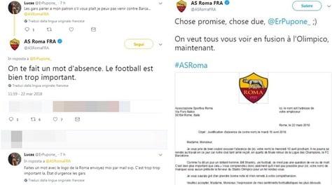 C'è il Barça, tifoso francese chiede alla Roma una giustificazione per il lavoro