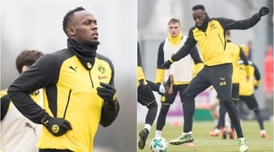 Bolt si riscalda durante l'allenamento del Borussia Dortmund