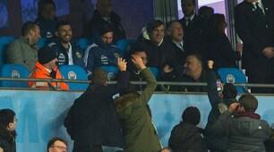 Argentina-Italia, tifosi in delirio per Messi in tribuna all'Etihad