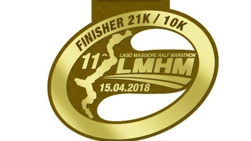 Medaglia e percorso della Nexia Audirevi Lago Maggiore Half Marathon