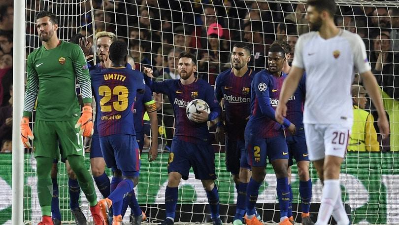 Champions League, Barcellona-Roma 4-1: due autogol, Piqué e Suarez condannano i giallorossi. Dzeko non basta