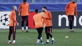 Roma, c'è Messi all'Olimpico: rifinitura prima della sfida di Champions