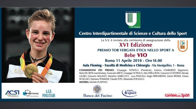 """A Bebe Vio il premio """"Tor Vergata-Etica nello Sport"""""""