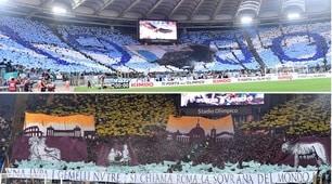 Lazio-Roma, lo spettacolo sugli spalti all'Olimpico
