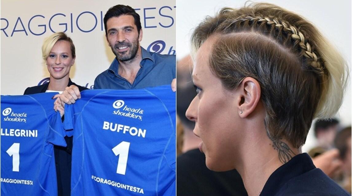 """La """"Divina"""" ha trovato il giusto stile perl'evento """"#Coraggiointesta"""". Con lei anche il portiere della Juventus di cui è tifosa"""