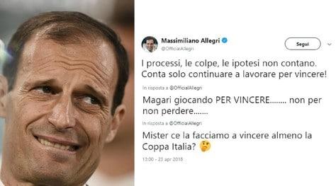Juventus, Allegri twitta dopo 14 ore e i tifosi insorgono: «Non si gioca per il pari»