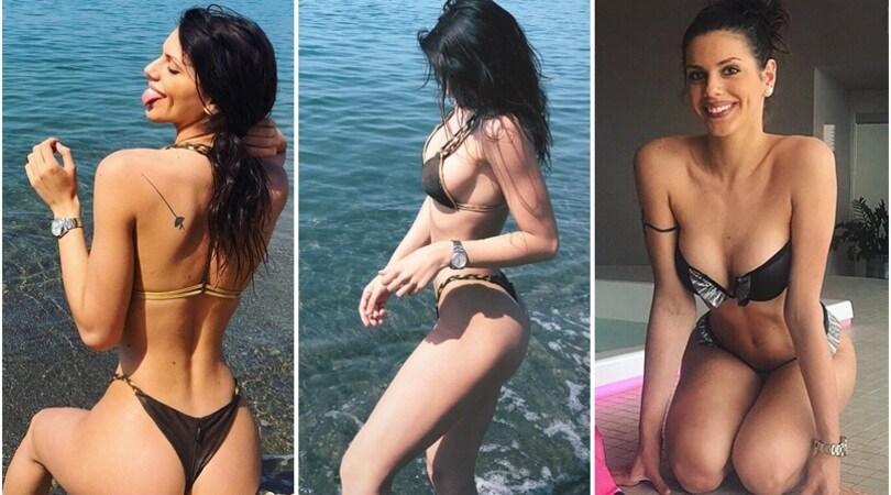 Antonella Fiordelisi, primo bagno al mare con linguaccia
