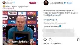 Iniesta saluta il Barcellona eil mondo del calcio si commuove con lui