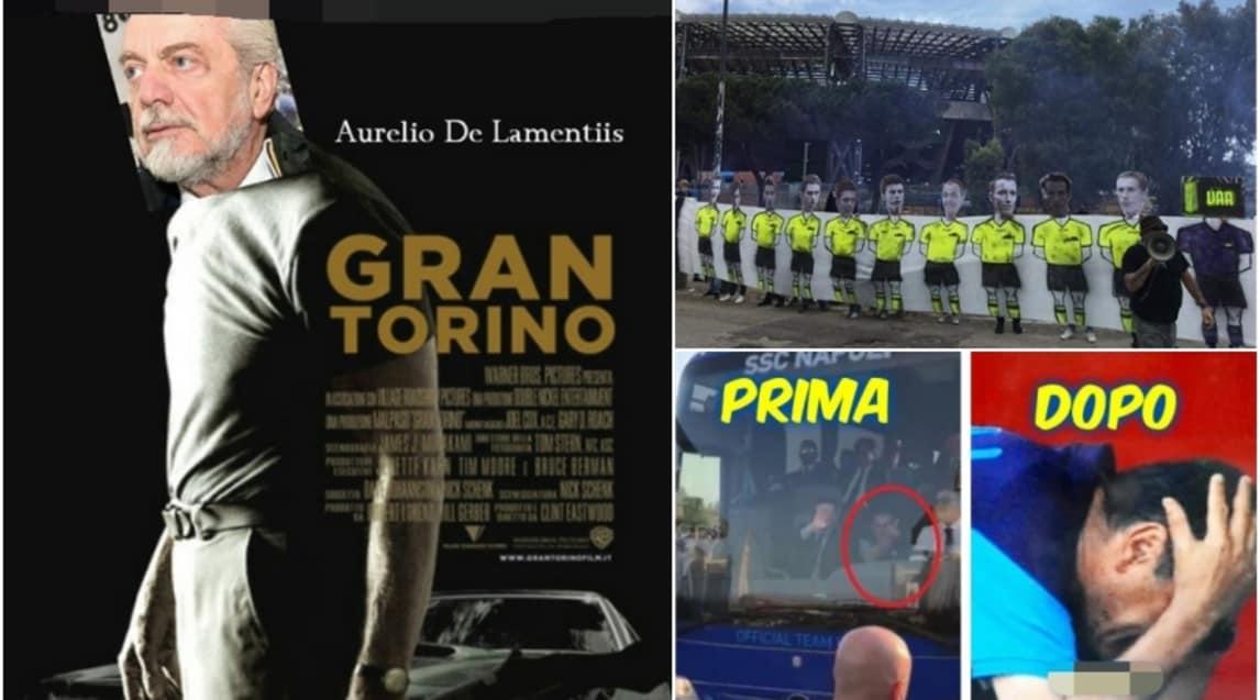 Il 2-2 col Torino al San Paolo fa scivolare Sarri a -6 da Allegri e sul web dilagano gli sfottò del popolo bianconero, mentre quello partenopeo ringrazia i propri beniamini