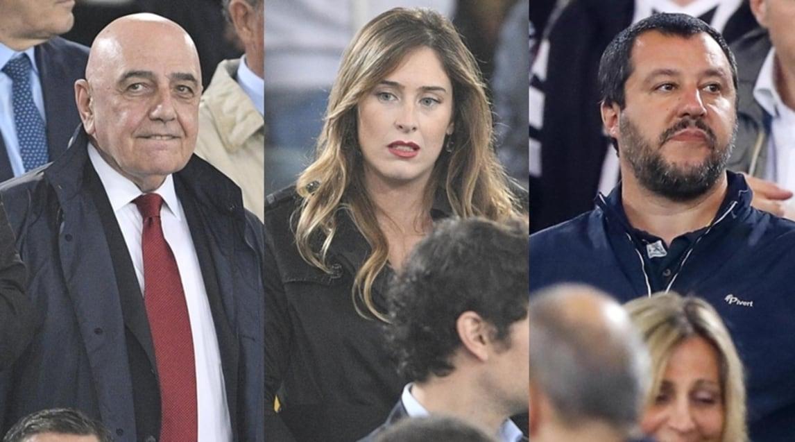 Tanti i volti noti presenti all'Olimpico per seguire Juventus-Milan: ci sono anche Matteo Salvini e il presidente del Coni Malagò