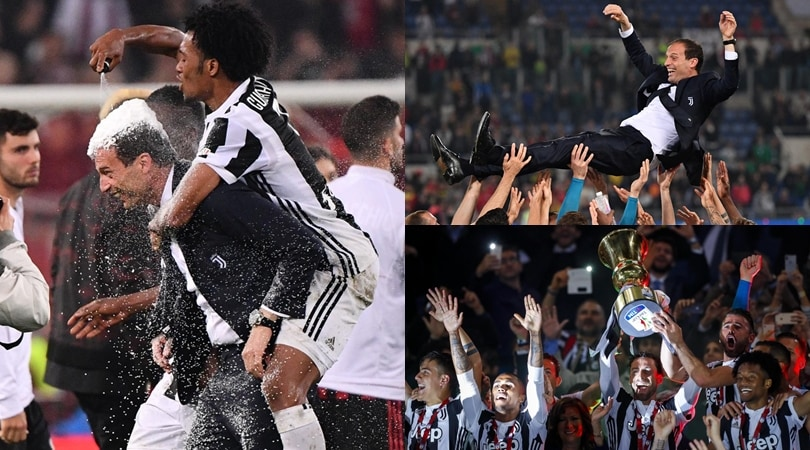 Juventus, festa in Coppa Italia: i giocatori portano Allegri in trionfo