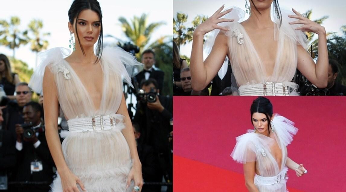 La modella americana fa impazzire tutti sulla Croisette con un altro abito che lascia poco all'immaginazione