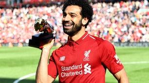 Liverpool, Salah festeggia ad Anfield il premio come miglior marcatore della Premier