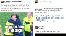 Roma-Juve, Allegri abbraccia Tagliavento e i social ironizzano