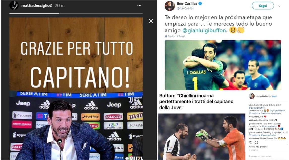 Messaggi, dediche e celebrazioni sul web per il capitano bianconero da parte di chi ha diviso lo spogliatoio con lui ma anche da colleghi e tifosi speciali